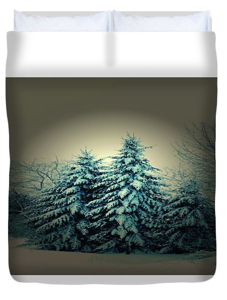 Blue Spruce-maine Evergreens Duvet Cover