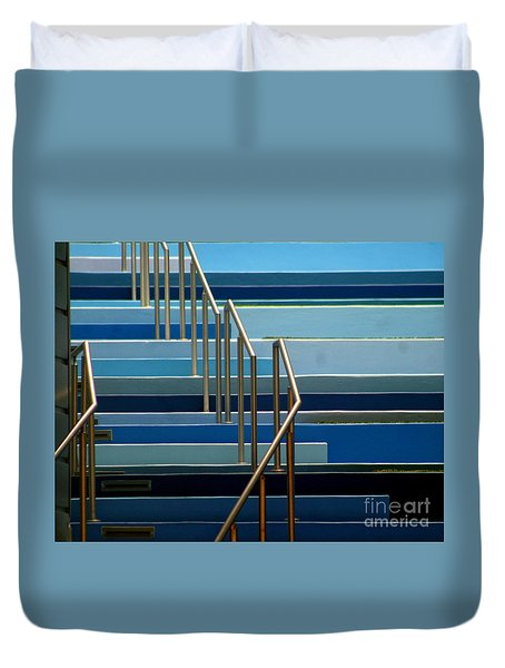 Stairs Blue Abstract In New Orleans Louisiana Duvet Cover by Michael Hoard
