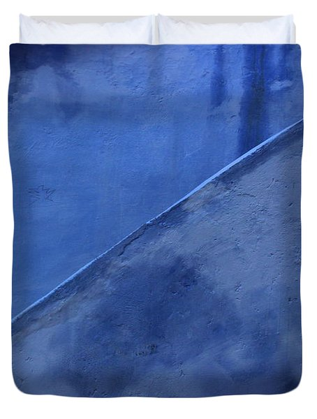 Duvet Cover featuring the photograph Blue Stairs In Profile by Ramona Johnston