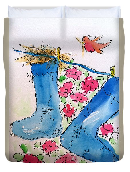 Duvet Cover featuring the painting Blue Stockings by Claire Bull