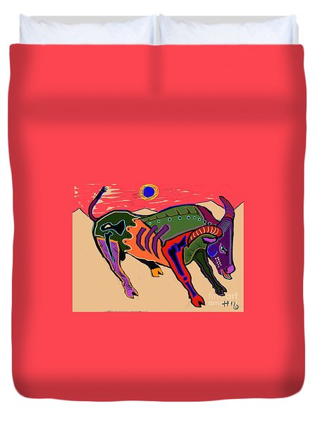 Blue Sun And Bull Duvet Cover