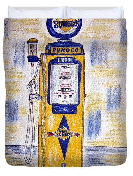 Duvet Cover featuring the painting Blue Sunoco Gas Pump by Kathy Marrs Chandler