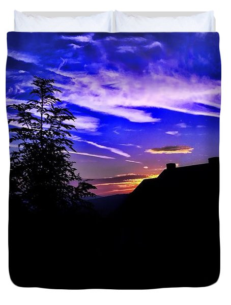 Duvet Cover featuring the photograph Blue Sunset In Poland by Mariola Bitner
