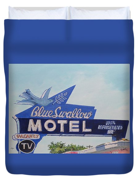 Blue Swallow Duvet Cover