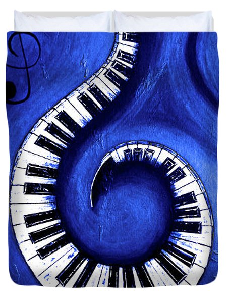 Blue - Swirling Piano Keys - Music In Motion  Duvet Cover