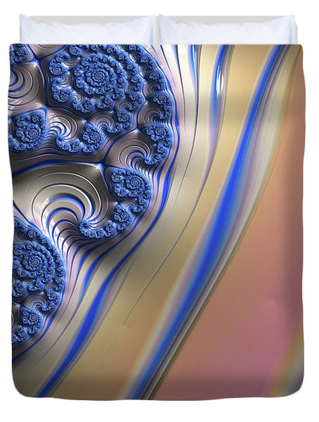 Duvet Cover featuring the digital art Blue Swirly Fractal 2 by Bonnie Bruno