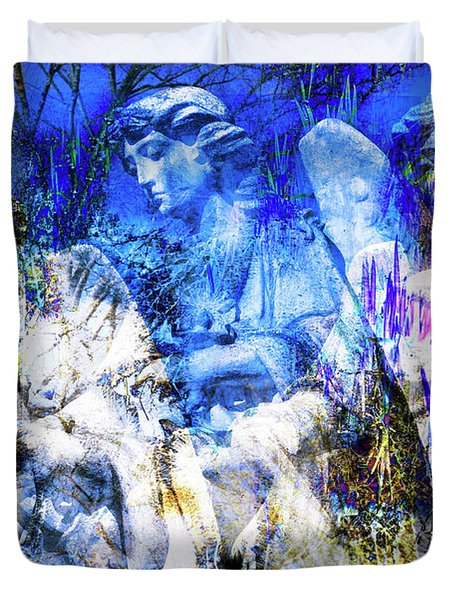 Blue Symphony Of Angels Duvet Cover