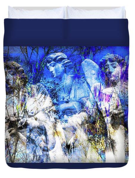 Blue Symphony Of Angels Duvet Cover