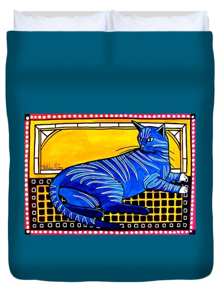 Blue Tabby - Cat Art By Dora Hathazi Mendes Duvet Cover