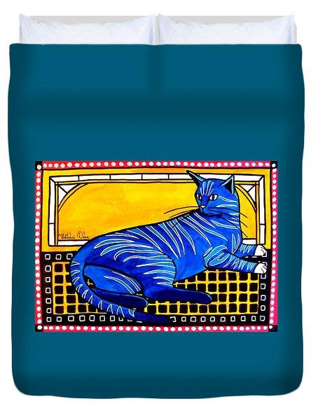 Blue Tabby - Cat Art By Dora Hathazi Mendes Duvet Cover by Dora Hathazi Mendes