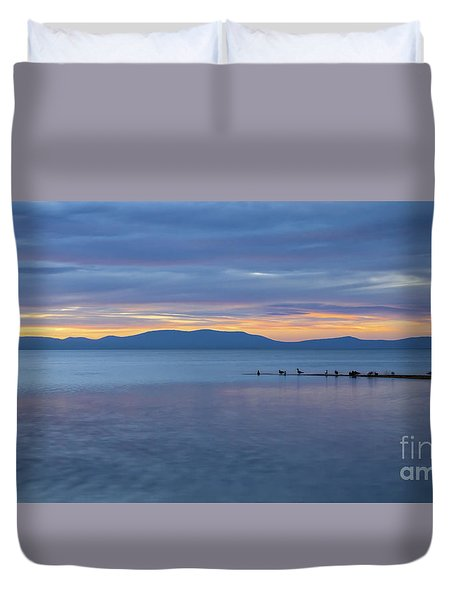 Blue Tahoe Sunset Duvet Cover by Mitch Shindelbower