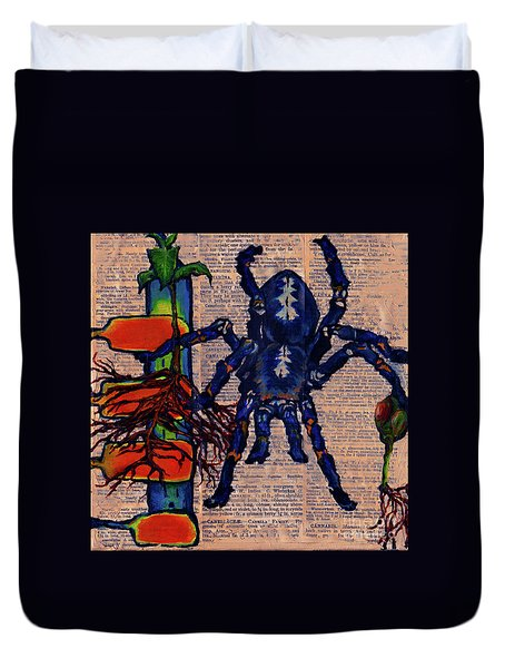 Blue Tarantula Duvet Cover by Emily McLaughlin