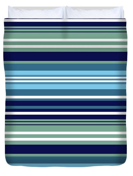 Blue Teal And White Summer Stripes Pattern Duvet Cover
