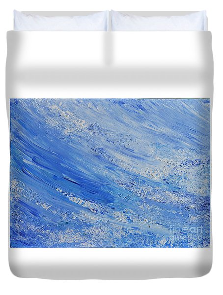 Duvet Cover featuring the painting Blue by Teresa Wegrzyn