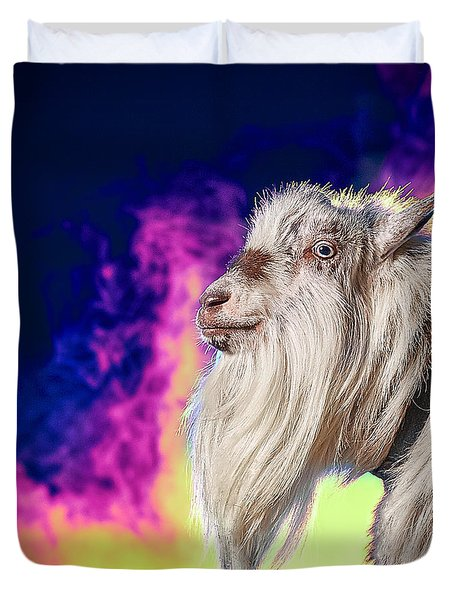 Blue The Goat In Fog Duvet Cover by TC Morgan