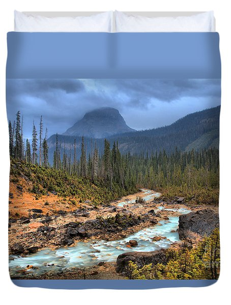 Duvet Cover featuring the photograph Blue Through The Yoho Valley by Adam Jewell