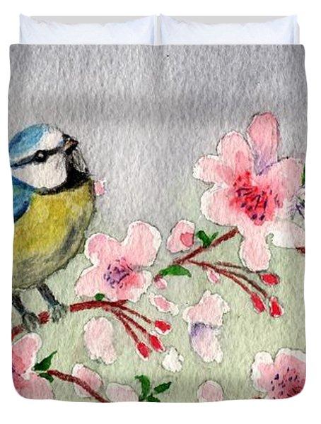 Blue Tit Bird On Cherry Blossom Tree Duvet Cover