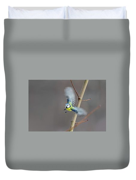 Blue Tit In Flight Duvet Cover