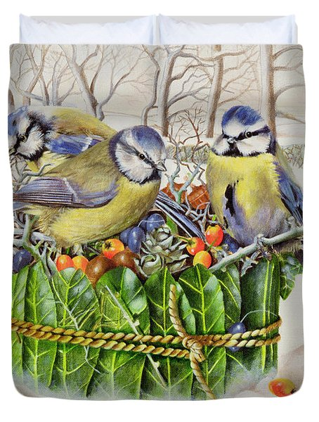 Blue Tits In Leaf Nest Duvet Cover by EB Watts