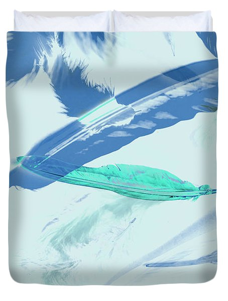 Blue Toned Artistic Feather Abstract Duvet Cover