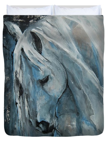 Duvet Cover featuring the painting Tranquility by Jani Freimann