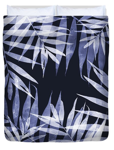 Blue Tropical Leaves Duvet Cover
