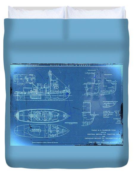 Blue Tugboat Blueprints Duvet Cover