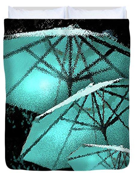 Blue Umbrella Splash Duvet Cover by Deborah Nakano