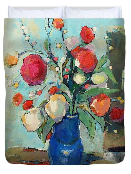 Blue Vase Duvet Cover by Becky Kim