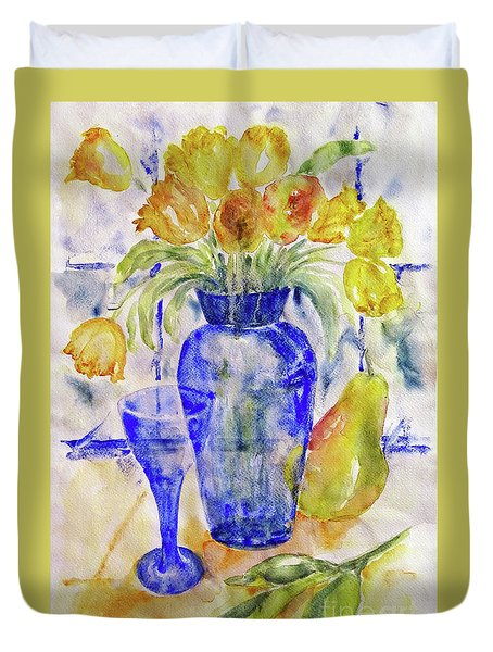 Duvet Cover featuring the painting Blue Vase by Jasna Dragun