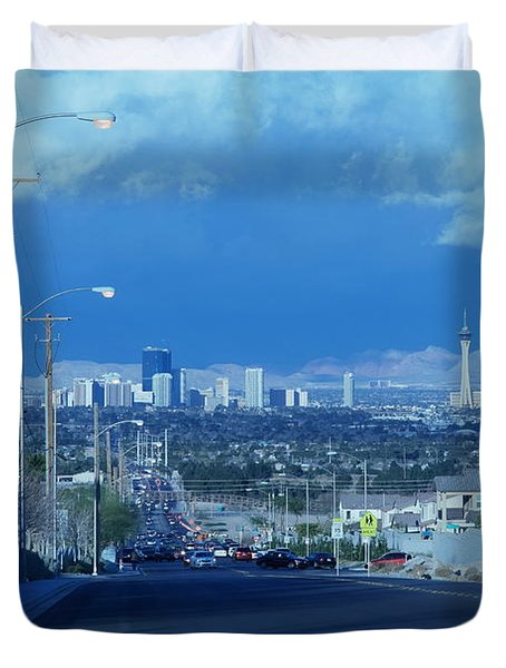 Blue Vegas Duvet Cover