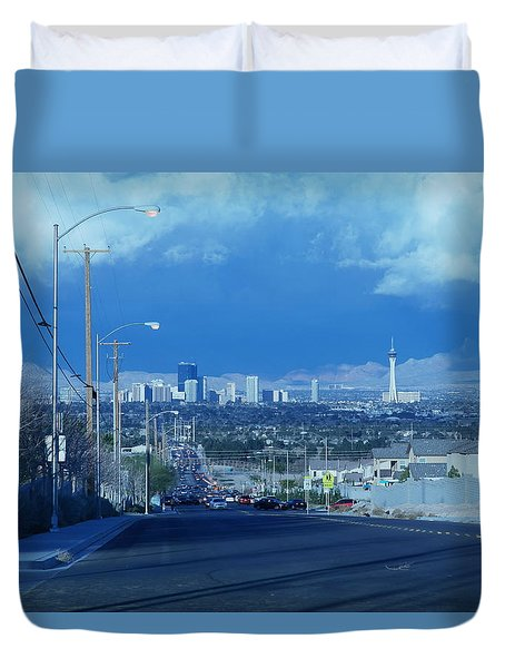 Blue Vegas Duvet Cover