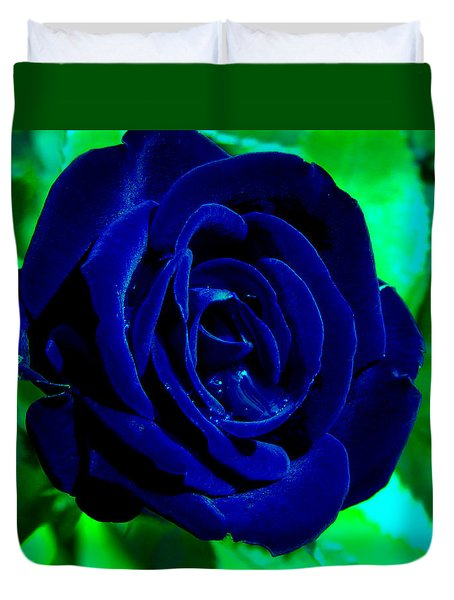Blue Velvet Rose Duvet Cover