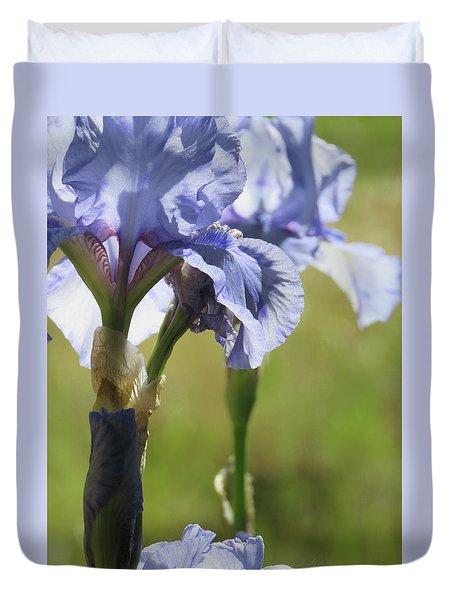 Blue Violet Irises - Flowers From The Garden Duvet Cover