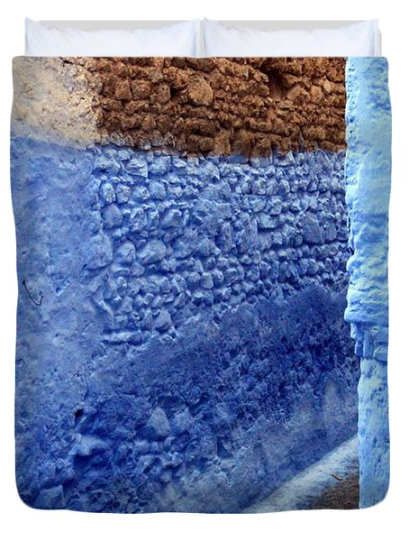 Duvet Cover featuring the photograph Blue Walls Of Chefchaouen by Ramona Johnston