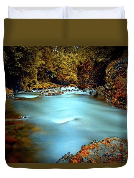 Blue Water And Rusty Rocks Signed Duvet Cover