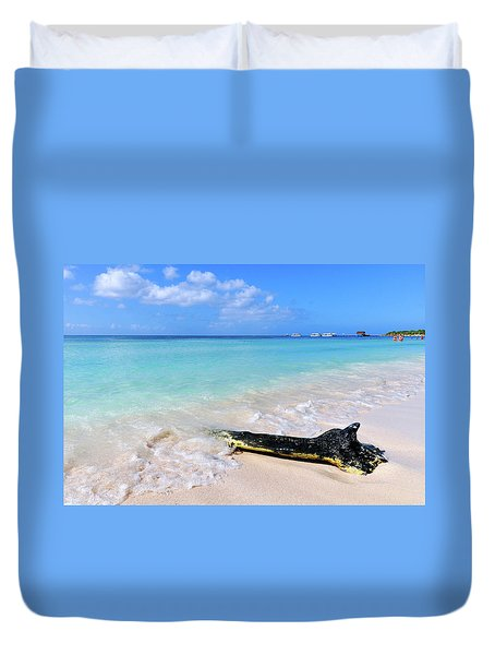 Blue Water And White Sand Duvet Cover