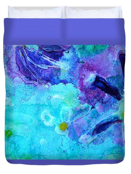 Blue Water Flower Duvet Cover