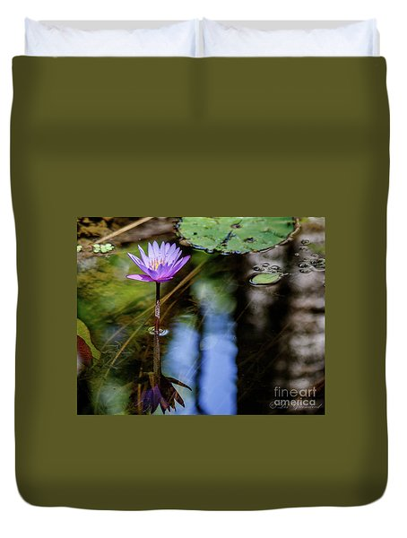 Blue Water Lily Duvet Cover