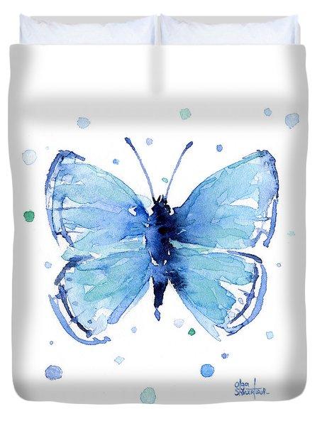 Blue Watercolor Butterfly Duvet Cover by Olga Shvartsur