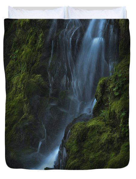 Duvet Cover featuring the photograph Blue Waterfall by Yulia Kazansky