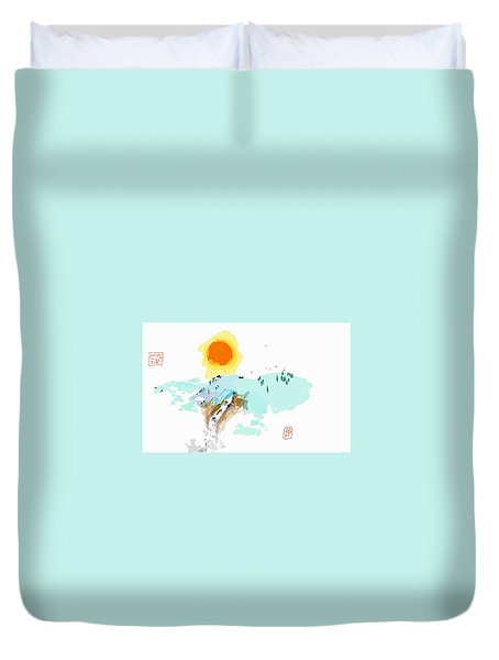 Blue Waterfalll Duvet Cover
