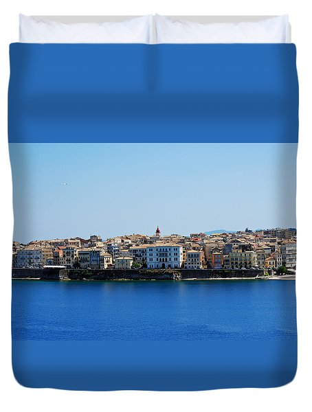Blue Waters Of Corfu Duvet Cover by Robert Moss