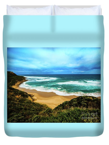 Duvet Cover featuring the photograph Blue Wave Beach by Perry Webster
