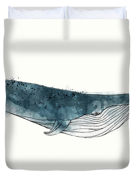 Blue Whale From Whales Chart Duvet Cover by Amy Hamilton