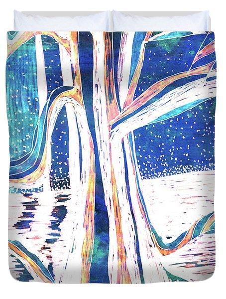 Blue-white Full Moon River Tree Duvet Cover