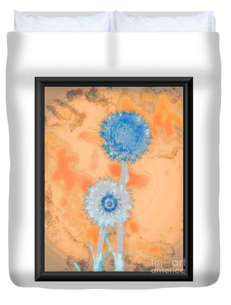 Blue White Thistles Duvet Cover