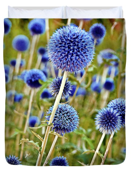 Blue Wild Thistle Duvet Cover