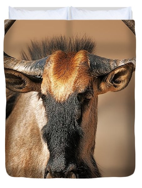 Blue Wildebeest Portrait Duvet Cover