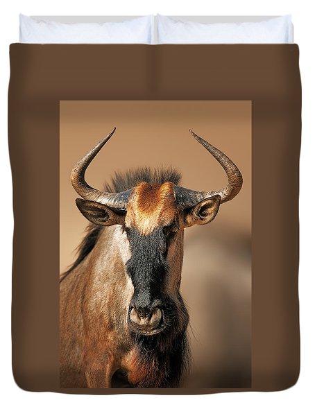 Blue Wildebeest Portrait Duvet Cover